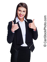 businesswoman with thumbs up - beautiful young businesswoman...