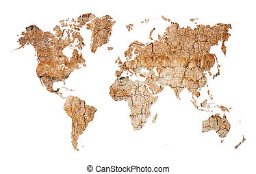 World map - continents from dry deserted soil - Map of the...