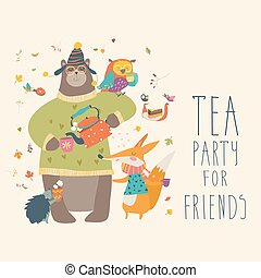 Tea party with cute animals. Vector illustration