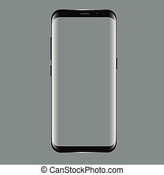 Black smartphone with blank screen. Realistic 3d Mockup for...