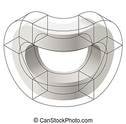 Abstract curved vector shape. Isometric brand of scientific...