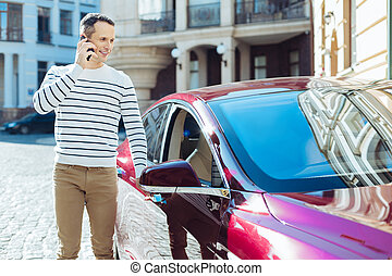 Positive good looking man getting into his car - I need to...