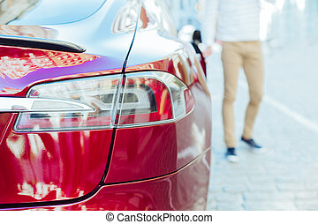 Selective focus of a car taillight - Modern auto. Selective...