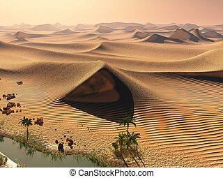 Global warming concept. Lonely sand ridges under dramatic...