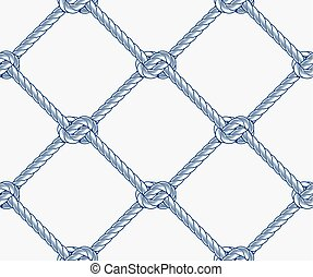 seamless nautical rope pattern - Seamless rope net with...
