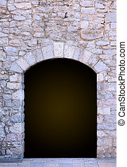 Stone tunel entrance - Stone tunnel dark hole with arch...