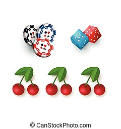 Casino symbols - jackpot cherry, dices and tokens - Set of...