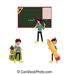vector flat schoolboy character set isolated - vector flat...