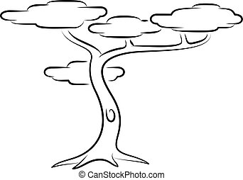 Tropical Tree - Line Art Vector Illustration Of A Tropical...