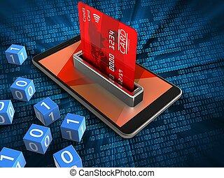 3d bank card - 3d illustration of mobile phone over digital...