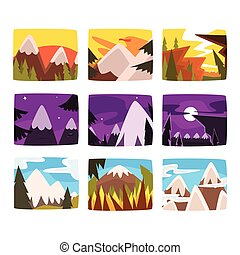 Mountain landscapes set in different times of day