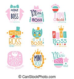 Mini boss logo original design colorful hand drawn vector...