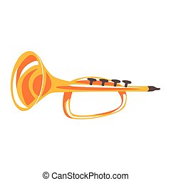 Trumpet, musical instrument cartoon vector Illustration on a...