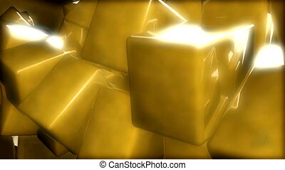 Stuck gold cubes