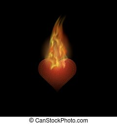 Burning Heart Sticker with Fire and Flame Isolated on Black...