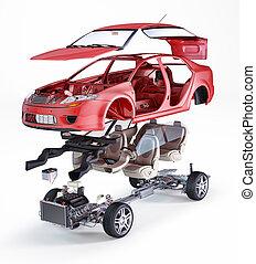 Generic sedan car, technical exploded illustration, on white...