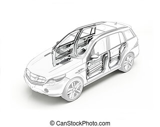 Suv technical drawing showing internal mechanicals inside...