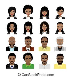 Set of Black Women and man avatar isolated on white...