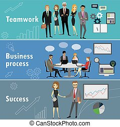 flat banner set with teamwork, business process and success,...