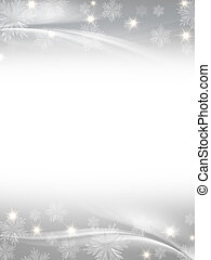 white grey christmas background with crystal snowflakes,...