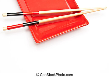 Sushi tableware - Black and red sushi set isolated on white...