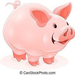 Pink piggy young cartoon animal vector - Pink piggy young...