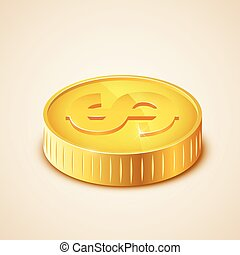 3d realistic gold coin icon. US dollar. Money concept....