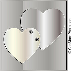 background two heart - on a metal background two iron heart,...