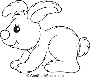 Little toy hare - Black and white vector illustration of a...