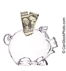 Transparent Pig Bank with two dollar bank-notes