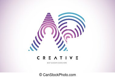 AP Lines Warp Logo Design. Letter Icon Made with Purple...