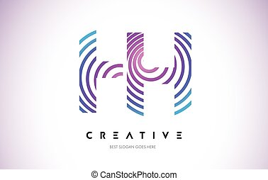 HH Lines Warp Logo Design. Letter Icon Made with Purple...