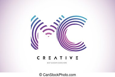 MC Lines Warp Logo Design. Letter Icon Made with Purple...