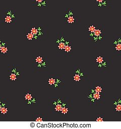 Small tiny red flowers scattered on dark background. Ditsy,...