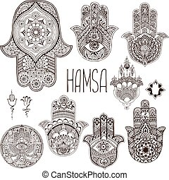 A set of palms-hamsa in the style of mehendi. - Hamsa is an...