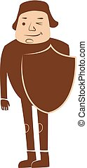 Knight illustration - Simple, Brown Color Knight Vector...