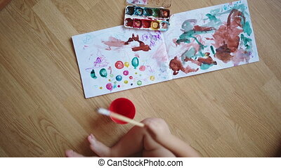 Painting with watercolors on paper.