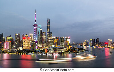 Aerial panorama of Pudong district at night, Shanghai