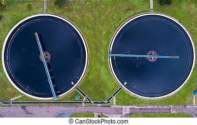 Aerial view of sewage treatment plant.