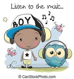 Cute cartoon boy and owl with headphones