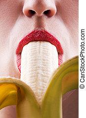 mulheres, comer, banana