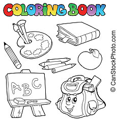 Coloring book with school images 1 - vector illustration.