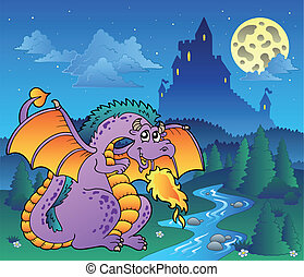 Fairy tale image with dragon 3 - vector illustration