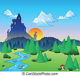 Fairy tale landscape 1 - vector illustration.