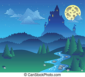Fairy tale landscape at night 1 - vector illustration