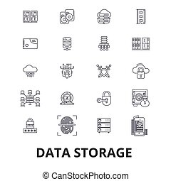 Data storage line icons. Editable strokes. Flat design vector illustration symbol concept. Linear isolated signs