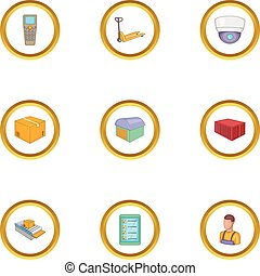 Work in the warehouse icons set, cartoon style - Work in the...