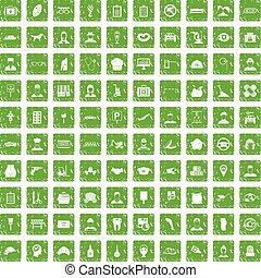 100 favorite work icons set grunge green - 100 favorite work...