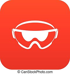 Safety glasses icon digital red for any design isolated on...
