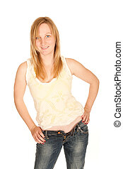 Young woman in shirt and open jeans - Sexy young woman in...